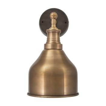 Industville Brooklyn Vintage Antique Sconce Wall Lamp - Cone - Brass - 7 inch