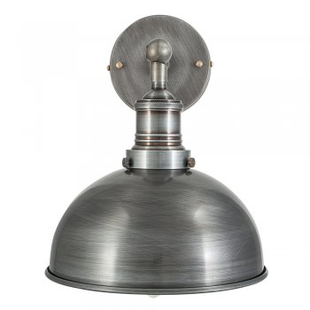 Industville Brooklyn Vintage Antique Sconce Wall Lamp - Dome - Dark Pewter - 8 inch