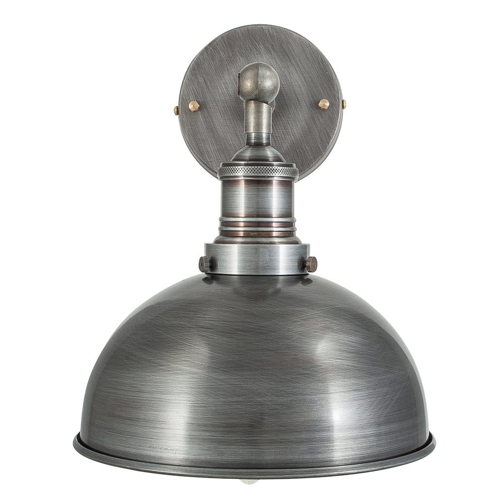 Vintage Industrial Style Dark Pewter 8 Inch Dome Lamp Shade