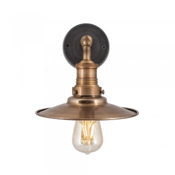 Industville Brooklyn Vintage Antique Sconce Wall Lamp - Flat Shade - Antique Brass - 8 inch