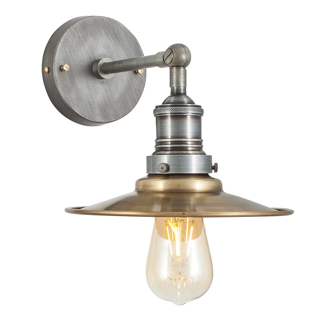 Vintage Wall Lamp Shades : Vintage Industrial Style Brass Flat Lamp Shade