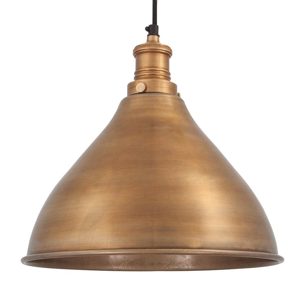 Vintage industrial style metal cone pendant light brass for Metal hanging lights