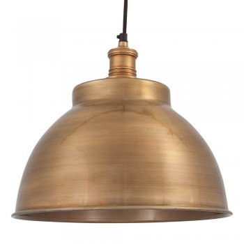 Industville Brooklyn Vintage Metal Dome Pendant Light - Brass - 13 inch