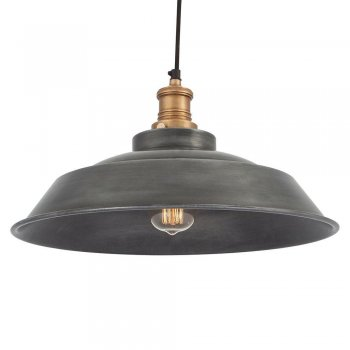 Industville Brooklyn Vintage Step Metal Lamp shade - Dark Grey Pewter - 16 inch