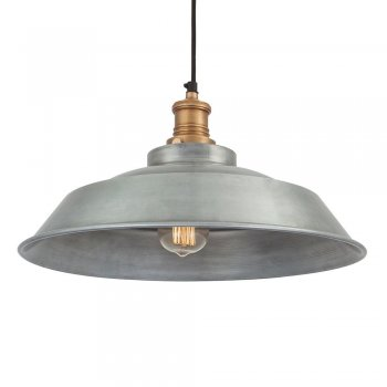 Industville Brooklyn Vintage Step Metal Lamp shade - Light Grey Pewter - 16 inch
