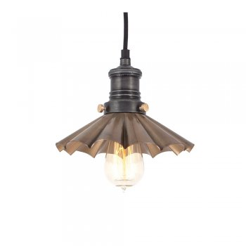 Industville Brooklyn Vintage Umbrella Lampshade Pendant Light - Brass - 8 inch
