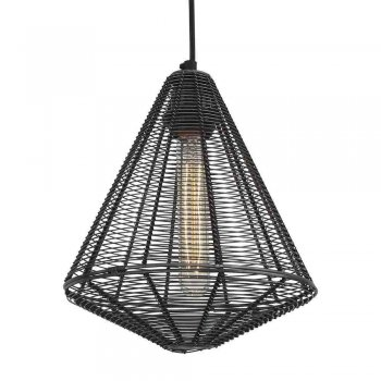 Industville Handcrafted Unique Vintage Cage Wire Metal Pendant Light - Cone