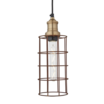 Industville Simple Vintage Rusty Cage Wire Pendant Light - Cylinder