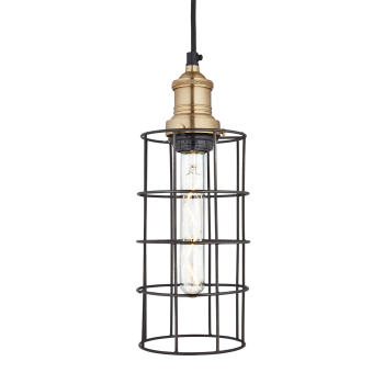 Industville Simple Vintage Wire Pewter Cage Pendant Light - Cylinder