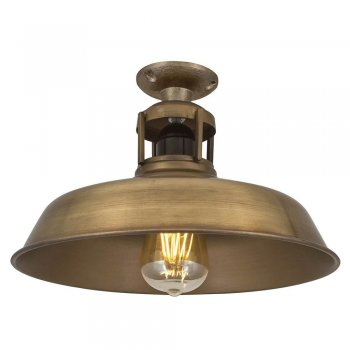Industville Vintage Industrial Style Barn Slotted Flush Mount Ceiling Light - Brass