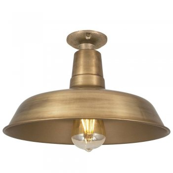 Industville Vintage Industrial Style Flush Mount Farmhouse Ceiling Light - Brass