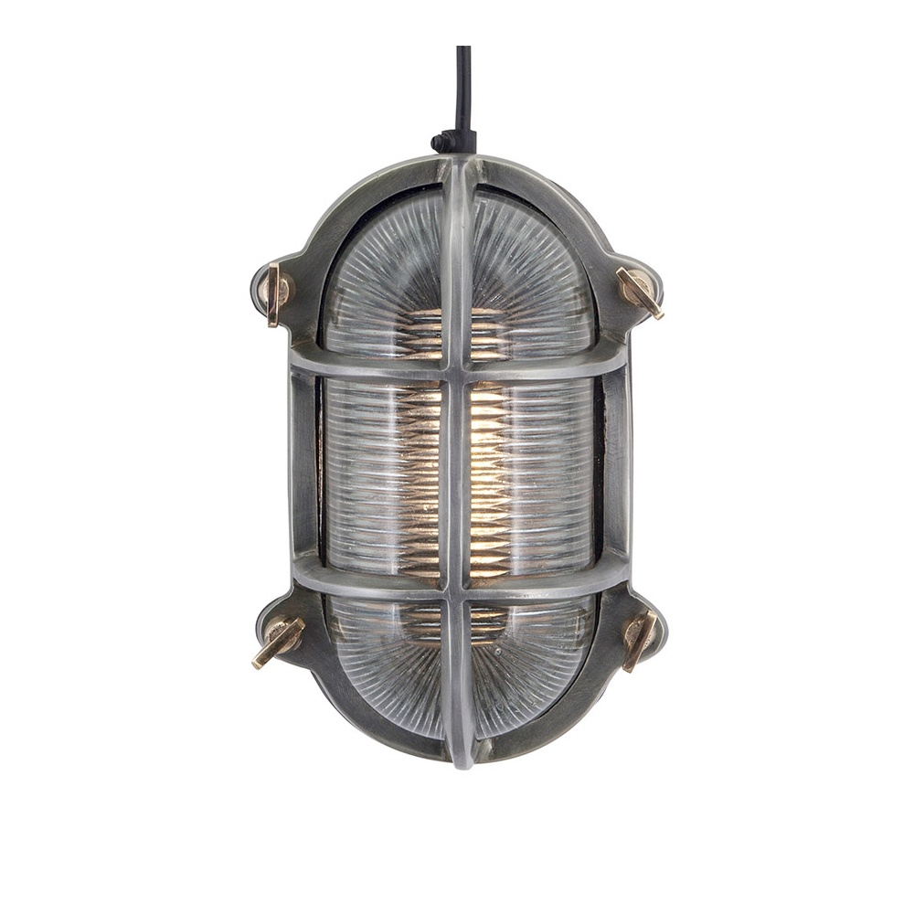 Industrial Style Retro Bulkhead Wall Light In Pewter Patina
