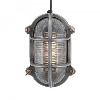Industville Vintage Industrial Style Oval Bulkhead Retro Wall Light/Flush Mount - Pewter Patina