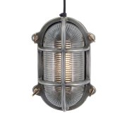 Vintage Industrial Style Oval Bulkhead Retro Wall Light/Flush Mount - Pewter Patina