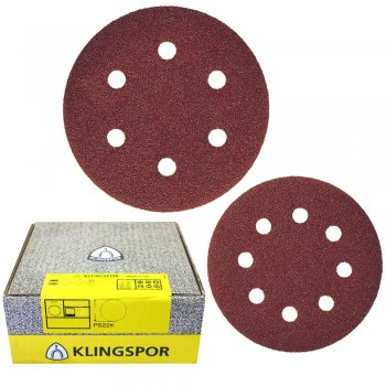 Klingspor 125mm & 150mm Self-Fastening Wood/Metal Sanding Discs - PS 22 K