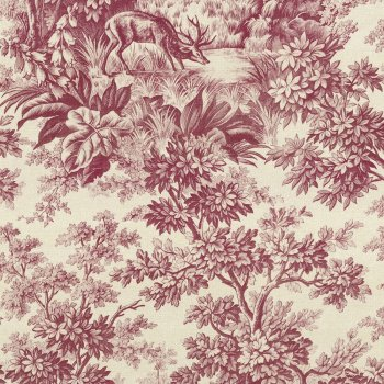 Little Greene Stag Toile - Burgundy Wallpaper