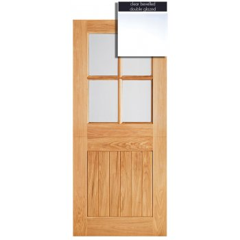 LPD Doors Adoorable Oak Cottage Stable 4 Light Double Glazed Exterior/External Door