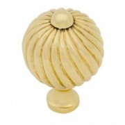 Medium Spiral Cabinet Knob - Polished Brass