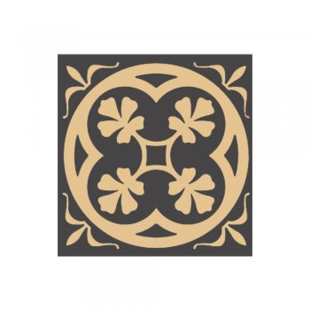 Olde English 70mm Square Fully Encaustic Tile in Black and Cognac
