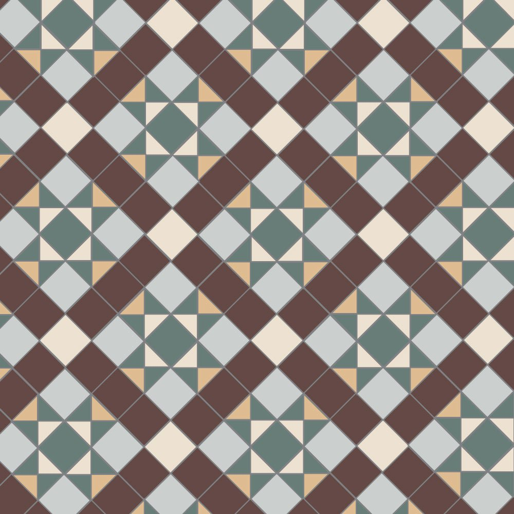 Olde English Carron Geometric Floor Tiles.