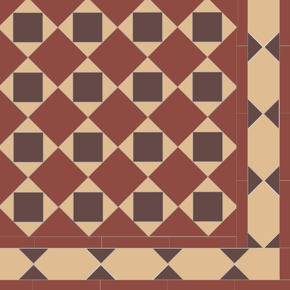 Olde English Chain Border Geometric Floor Tiles Flooring