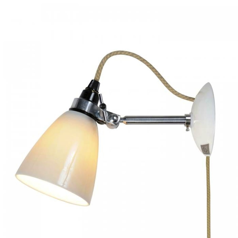 Hector Small Dome Wall Light Plug, Switch & Cable - Natural