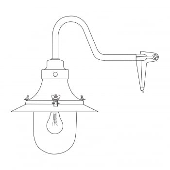 Original BTC Ship's Small Decklight, Wall Light, Corner Fork