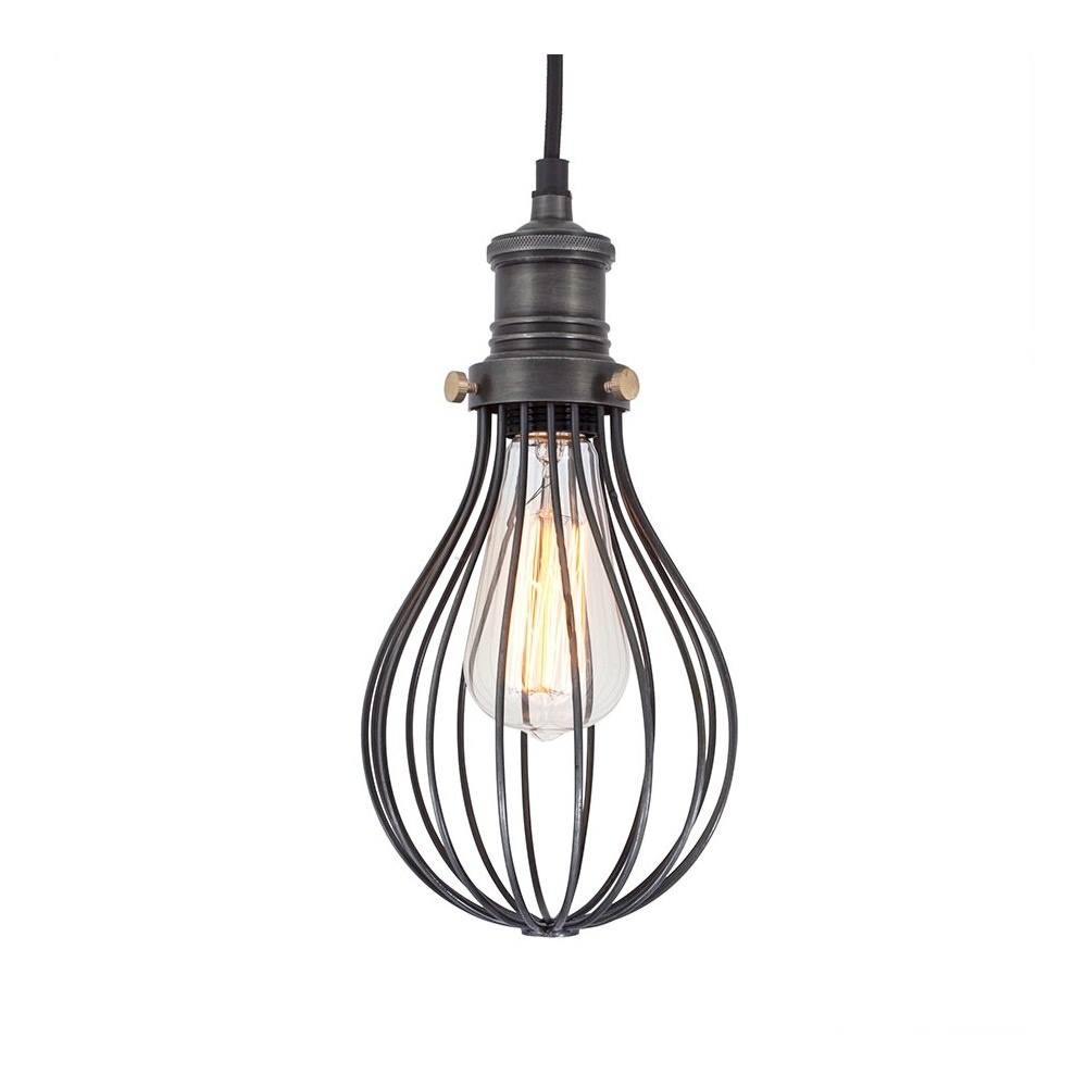 vintage industrial style balloon cage pendant light in dark pewter