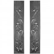 Pair Cast Iron Fireplace Panel Inserts - HEF319