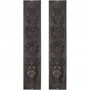 Pair Cast Iron Fireplace Panel Inserts - RX081