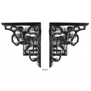 Pair of Traditional Antique Victorian Style Cast Iron Cherub Shelf/Cistern Brackets - Black