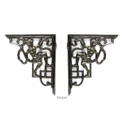 Pair of Traditional Antique Victorian Style Cast Iron Cherub Shelf/Cistern Brackets - Lacquer