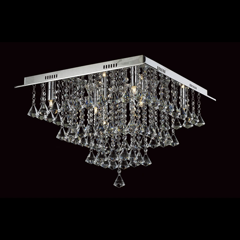 Impex Lighting Parma Square Crystal Flush Ceiling Light