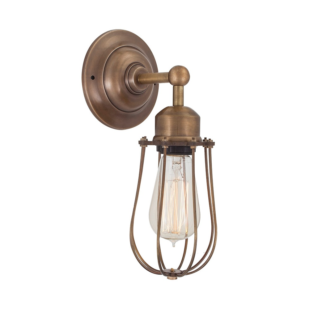 Retro Industrial Cage Wall Sconce in Antique Brass