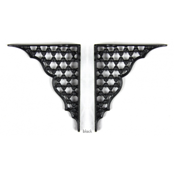 PPS Pair of Small Traditional Victorian Style Cast Iron Honeycomb Shelf Brackets - Black