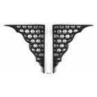 Pair of Small Traditional Victorian Style Cast Iron Honeycomb Shelf Brackets - Black