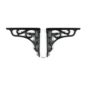 PPS Pair of Traditional Antique Victorian Style Cast Iron Scroll Shelf/Cistern Brackets - Black