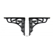 Pair of Traditional Antique Victorian Style Cast Iron Scroll Shelf/Cistern Brackets - Black