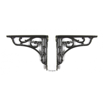 PPS Pair of Traditional Antique Victorian Style Cast Iron Scroll Shelf/Cistern Brackets -Lacquer