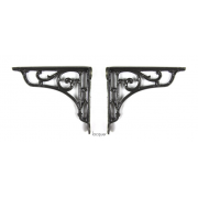 Pair of Traditional Antique Victorian Style Cast Iron Scroll Shelf/Cistern Brackets -Lacquer