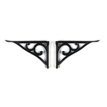 PPS Pair of Traditional Victorian Style Cast Iron Scroll Lipped Glass Shelf Brackets - Black