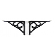 Pair of Traditional Victorian Style Cast Iron Scroll Lipped Glass Shelf Brackets - Black