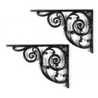 Pair of Traditional Victorian Style Cast Iron Swirl Shelf/Cistern Brackets - Black