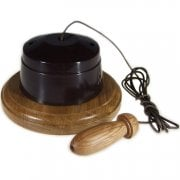 Period Brown Bakelite Pull Cord - Solid Light Oak Base - Hand Turned Acorn
