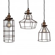 Vintage Rusty Cage Wire Pendant Light - Pewter - Cone