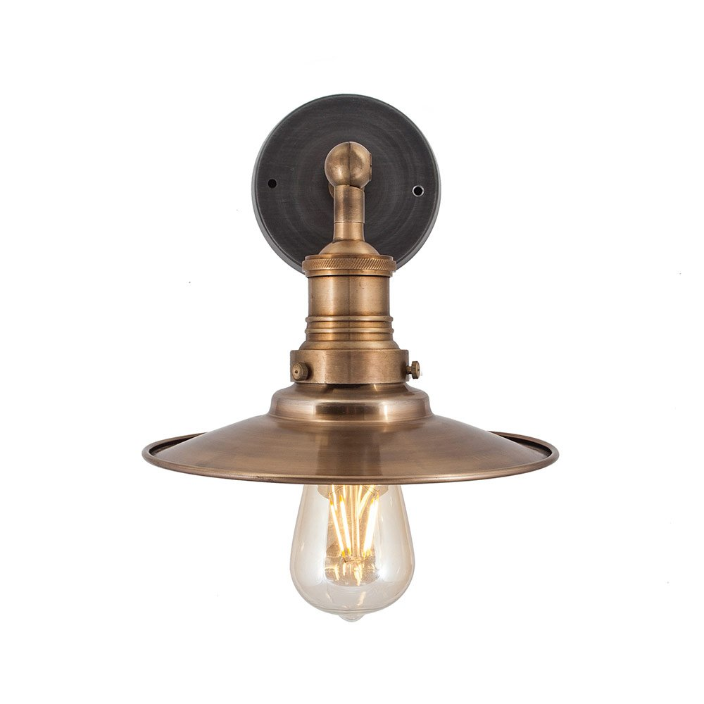 Vintage Brass Wall Lamps : Vintage Industrial Style Brass Flat Lamp Shade