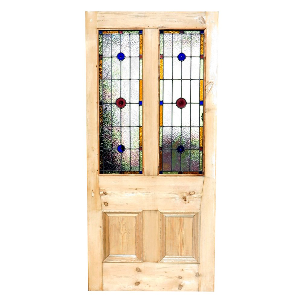 Reclaimed Oversized Front Door With Bolection Moulding And Stained Glass Panels
