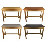 Reclaimed School Tables - Beech Frame & Iroko Top - Choice Of Finish