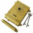 Rim Lock with Solid Brass Cover + Keep - Polished Brass