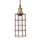 Simple Vintage Rusty Cage Wire Pendant Light - Cylinder